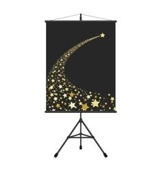 Gold falling star on presentation screen vector image