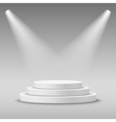Illuminated round white stage podium vector