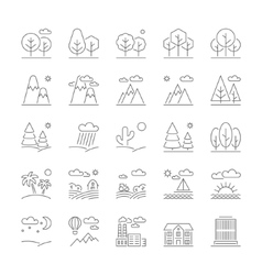 Landscape icons thin line style flat design vector image