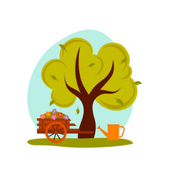 spring or summer landscape green tree cart with vector image vector image