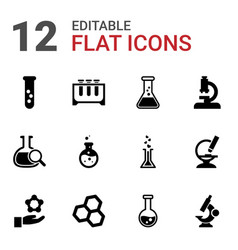 12 scientific icons vector