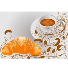 Abstract coffee and croissants vector