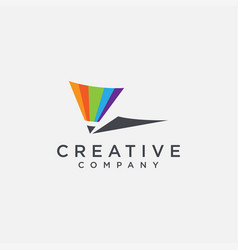 Abstract minimalist colorful pencil logo icon vector