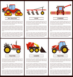 Agricultural machinery set cartoon banner vector