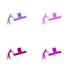 Assembly realistic sticker design on paper loader vector