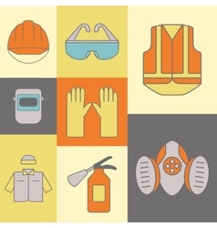 background of safety work icons including vector image