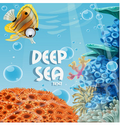 banner deep blue sea with coral reefs and sea vector image