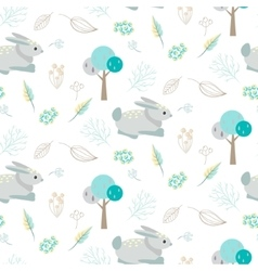 Blue bunny in abstract woods seamless pattern vector