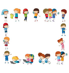 Border template with happy children with devices vector