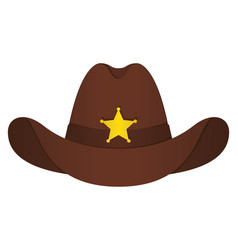 Brown sheriff hat icon isolated object front vector