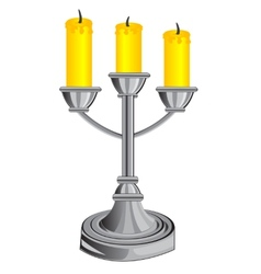 Candlestick on three candles vector