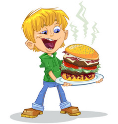 Cartoon boy eating vector