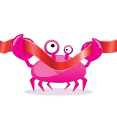 Cartoon crab cutting red ribbon vector image