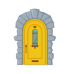 Classic arched yellow door vintage style facade vector