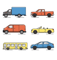 collection colored thin line transportation vector image