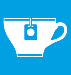 cup with teabag icon white vector image
