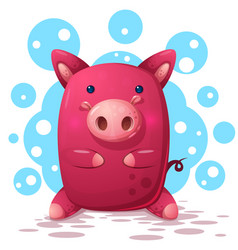 cute pig symbol year 2019 vector image