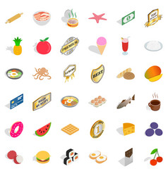 Different food icons set isometric style vector