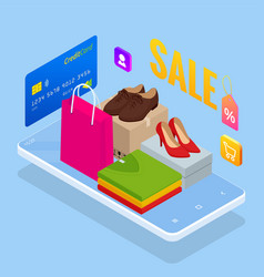 discount sale mobile payment or money transfer vector image