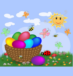 easter background with decorated easter eggs and vector image