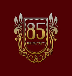 eighty fifth anniversary vintage logo symbol vector image