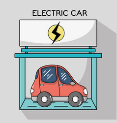 Electric car with recharge battery station vector