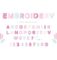embroidery font design in pastel colors isolated vector image vector image