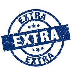 Extra blue round grunge stamp vector
