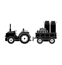 farm tractor with carriage transport milk and vector image