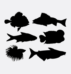 Fish animal silhouette 4 vector image