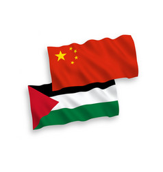 Flags palestine and china on a white background vector