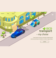 flat banner eco transport my choise cartoon vector image