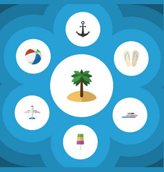flat icon summer set of beach sandals boat vector image