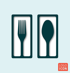 fork and spoon minimal shadow design vector image