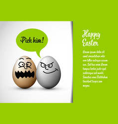 funny easter card with easter eggs vector image
