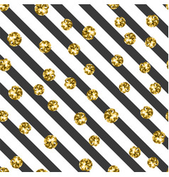 gold on black and white stripe seamless pattern vector image