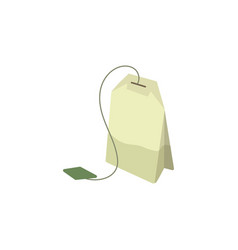 Green tea bag flat isolated vector