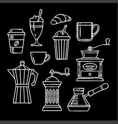 hand drawn collection sketch coffee vector image