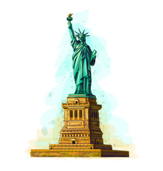 Hand drawn statue liberty design on a white vector