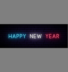 happy new year neon sign long horizontal light vector image
