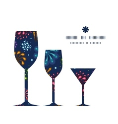 holiday fireworks three wine glasses silhouettes vector image