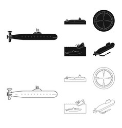Isolated object of war and ship symbol collection vector