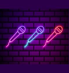 karaoke colours glowing neon ui ux icons glowing vector image