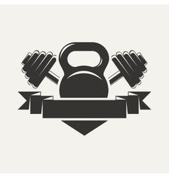 Kettlebell and dumbbell with baner logo vector
