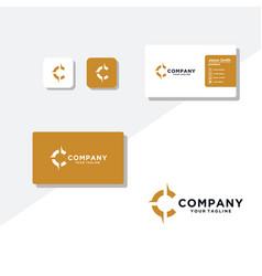 Letter c compass modern logo design vector