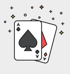 Magic cards black line icon flat style vector