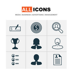 management icons set with manager administrator vector image