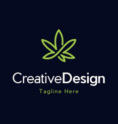 marijuana outline creative naturally logo vector image