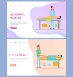 Masseuse doing abdominal and foot massage vector