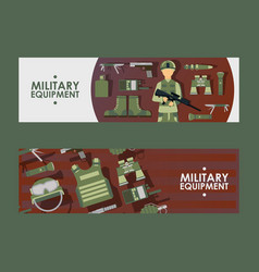 Military equipment banner vector